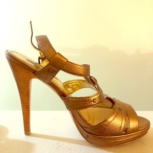 Charles David bronze metal high heel sandals